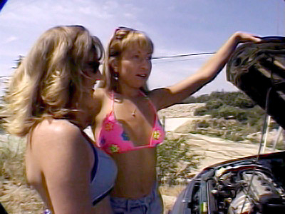Maya Souls and Shelby Myne are stuck in the middle of a highway Their car broke down and neither one of them know how to fix it Good thing this guy came to rescue them by fixing their car and to reward him they gave the guy a little outdoor lesbian show